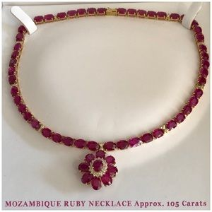 105 Ct Mozambique Ruby/ 1.02 Ct Diamond Necklace